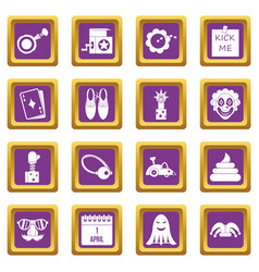 april fools day icons set purple vector image