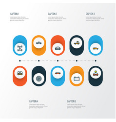Auto icons colored line set with prime-mover vector