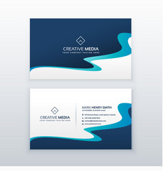 Awesome blue wavy business card design for your vector