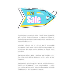 best sale tag with thread on promotional poster vector image