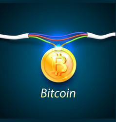 Bitcoin money energy cable internet vector