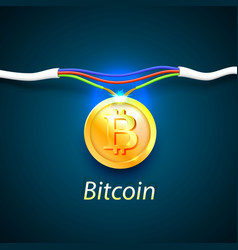 bitcoin money energy cable internet vector image vector image