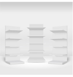 blank empty showcases display with retail shelves vector image