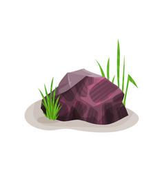 Bright heliotrope mineral rock stone design vector