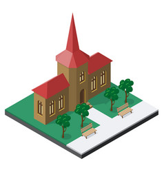 Building with benches and trees in isometric view vector