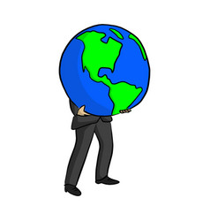businessman holding big blue planet earth vector image
