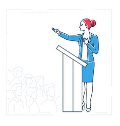 Businesswoman speaking from a platform - line vector