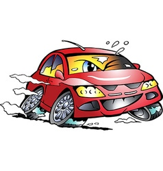Cartoon of a red Sports Car Mascot racing in vector
