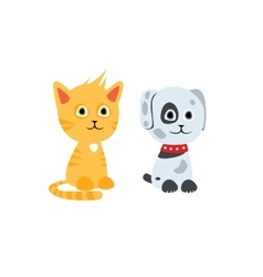Cat and dog characters vector image
