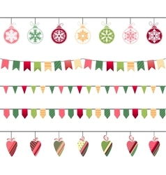 Christmas garlands endless horizontal texture vector