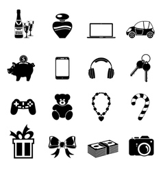 Christmas gifts icons vector