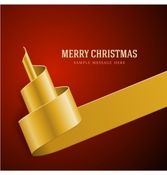 Christmas golden tree from ribbon vector image