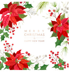 christmas poinsettia flower card party vector image