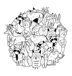 Circle shape coloring page with woodland animals vector