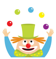 clown juggler face head looking up juggling balls vector image