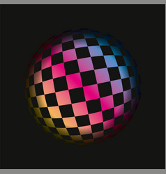 colored grids spherical 3d background pattern vector image