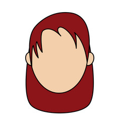 Colorful caricature image faceless front view red vector