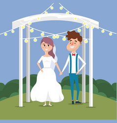 Couple married with lights decoration design vector