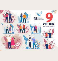 Couple waiting childbirth characters set vector