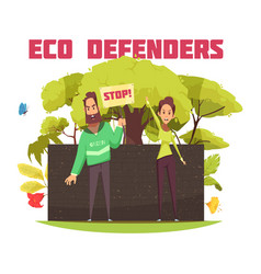 Eco defenders cartoon composition vector