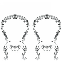 Fabulous Rich Rococo Chairs set vector