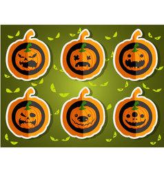 Face pumpkins for Halloween set 3 vector