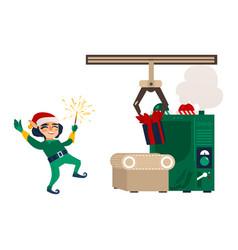 Flat elf boy dancing near gift factory vector