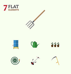 Flat icon garden set of bailer hosepipe vector