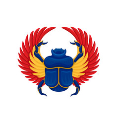 Flat icon of blue scarab beetle with yellow vector