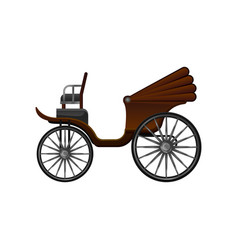 Flat icon of old horse-drawn carriage with vector