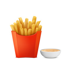 French fries in paper box mayochup vector