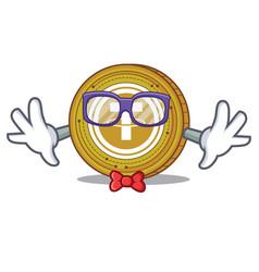 Geek tether coin character cartoon vector