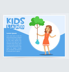 girl planting young tree eco concept kids land vector image