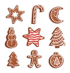 glazed gingerbread of various shapes set vector image