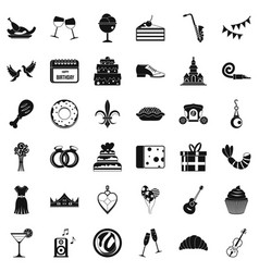 Great banquet icons set simple style vector