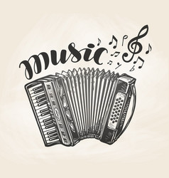 Hand drawn classic accordion vintage musical vector
