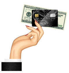 hand of woman holding credit card and dollar vector image