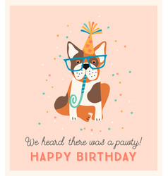 happy birthday with cute dog vector image