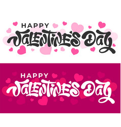 happy valentines day lettering with hearts shapes vector image