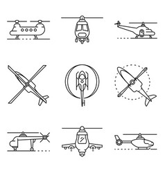 helicopter icons set outline style vector image