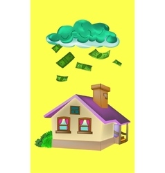 house falling money vector image