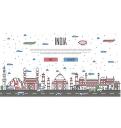 Indian skyline with national famous landmarks vector