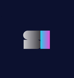 initial alphabet letter si s i logo company icon vector image