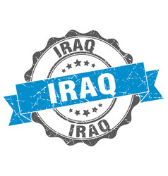 Iraq round ribbon seal vector