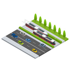 isometric icon city transport or vector image