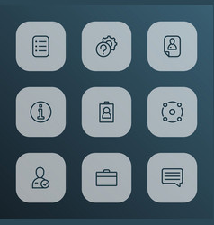 job icons line style set with candidate briefcase vector image