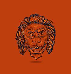 lion hand drawn head floating on orange background vector image
