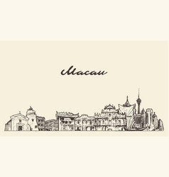 macau skyline china hand drawn sketch vector image