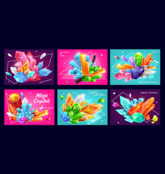 Magic crystal banners with gemstones or gems vector