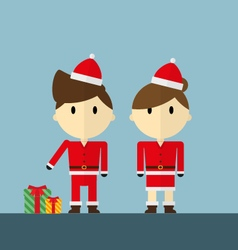Man and woman as santa claus with christmas gift vector